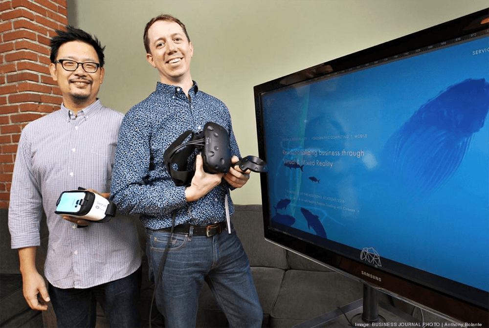 William Lai and Adam Sheppard with head mounting displays